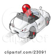 Clipart Illustration Of A Red Businessman Talking On A Cell Phone While Driving In A White Convertible Car