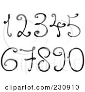 Royalty Free RF Clipart Illustration Of A Digtial Collage Of Black And White Decorative Numbers