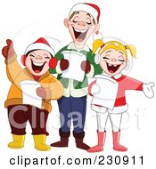 Royalty Free RF Clipart Illustration Of A Singing Family At Christmas Time