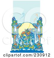 Royalty Free RF Clipart Illustration Of A Mayan King Reclined And Two Servants Holding Food