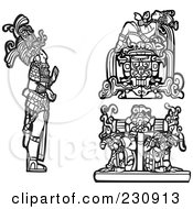 Royalty Free RF Clipart Illustration Of A Digital Collage Of Black And White Mayan Kings And Slaves by xunantunich
