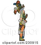 Mayan King Standing In Profile - 1