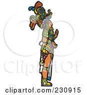 Royalty Free RF Clipart Illustration Of A Mayan King Standing In Profile 1 by xunantunich