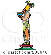 Royalty Free RF Clipart Illustration Of A Mayan King Holding An Offering 2 by xunantunich