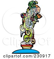 Royalty Free RF Clipart Illustration Of A Mayan God 1 by xunantunich