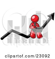 Clipart Illustration Of A Red Man Conducting Business On A Laptop Computer On An Arrow Moving Upwards In Front Of A Bar Graph Symbolizing Success