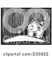 Royalty Free RF Clipart Illustration Of A Black And White Woodcut Styled Girl By Her Home In A Rain Storm