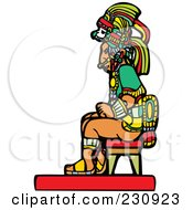 Royalty Free RF Clipart Illustration Of A Mayan Man Seated