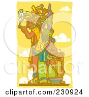 Royalty Free RF Clipart Illustration Of A Mayan King Smoking 2