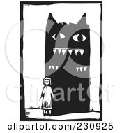 Royalty Free RF Clipart Illustration Of A Black And White Woodcut Styled Girl And Giant Monster by xunantunich