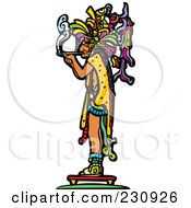 Royalty Free RF Clipart Illustration Of A Mayan King Smoking 1