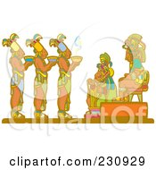 Royalty Free RF Clipart Illustration Of Mayan Servants Offering Food To Royalty by xunantunich