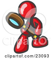 Clipart Illustration Of A Red Man Bending Over To Inspect Something Through A Magnifying Glass