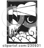 Royalty Free RF Clipart Illustration Of A Black And White Woodcut Styled Lighthouse With A Bright Beacon