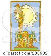 Royalty Free RF Clipart Illustration Of A Mayan King Standing In Profile 3