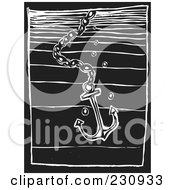 Royalty Free RF Clipart Illustration Of A Black And White Woodcut Styled Anchor In Water by xunantunich