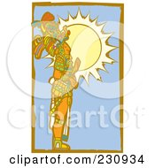 Royalty Free RF Clipart Illustration Of A Mayan King Standing In Profile 2