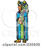 Royalty Free RF Clipart Illustration Of A Mayan King Standing