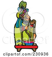 Royalty Free RF Clipart Illustration Of A Mayan King Eating by xunantunich