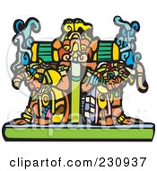 Royalty Free RF Clipart Illustration Of Two Mayans Carrying A Heavy Platform by xunantunich