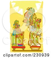 Royalty Free RF Clipart Illustration Of A Mayan King Making An Offering To A God by xunantunich