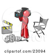 Clipart Illustration Of A Red Man Filming A Movie Scene With A Video Camera In A Studio