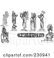Royalty Free RF Clipart Illustration Of A Digital Collage Of Black And White Mayan Kings And Gods by xunantunich
