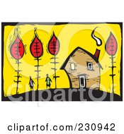 Royalty Free RF Clipart Illustration Of A Woodcut Styled Scene Of A Couple Near A Home With Autumn Trees by xunantunich