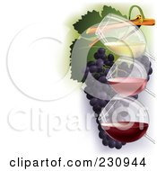 Royalty Free RF Clipart Illustration Of Three Glasses Of Wine Over Grapes With Copy Space To The Left 2 by Eugene