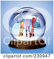 Royalty Free RF Clipart Illustration Of A Snowboard Skis And A Lift In A Snow Globe
