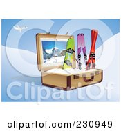 Royalty Free RF Clipart Illustration Of A Snowboard And Skis In A Suitcase Under A Plane
