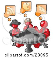 Clipart Illustration Of Three Red Men Using Laptops In An Internet Cafe