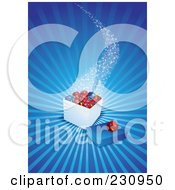 Royalty Free RF Clipart Illustration Of A Magical Box Of Christmas Ornaments Over Blue Rays