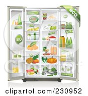 Royalty Free RF Clipart Illustration Of A Refrigerator Packed Full Of Organic Foods by Eugene