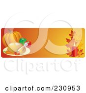 Royalty Free RF Clipart Illustration Of An Orange Thanksgiving Website Banner With A Roasted Turkey Pumpkin And Fall Leaves