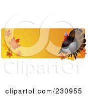 Royalty Free RF Clipart Illustration Of An Orange Thanksgiving Website Banner With A Turkey And Fall Leaves