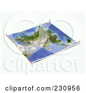 Royalty Free RF Clipart Illustration Of An Unfolded Map Sheet Of Asia With Thumbtacks
