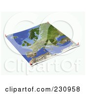Royalty Free RF Clipart Illustration Of An Unfolded Map Sheet Of Europe With Thumbtacks