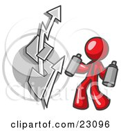 Clipart Illustration Of A Red Business Man Spray Painting A Graffiti Dollar Sign On A Wall