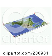 Royalty Free RF Clipart Illustration Of An Unfolded Map Sheet Of North America With Thumbtacks by Michael Schmeling