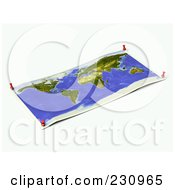 Royalty Free RF Clipart Illustration Of An Unfolded Map Sheet Of The World With Thumbtacks