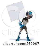Royalty Free RF Clipart Illustration Of A 3d Gray And Blue Alien Holding A Blank Sign 1