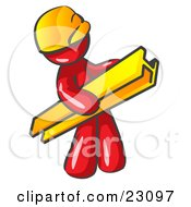 Clipart Illustration Of A Red Man Construction Worker Wearing A Hardhat And Carrying A Beam At A Work Site
