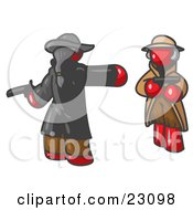 Clipart Illustration Of A Red Man Challenging Another Red Man To A Duel With Pistils