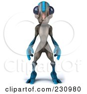 3d Gray And Blue Alien Standing And Facing Forward