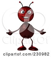 Royalty Free RF Clipart Illustration Of A 3d Worker Ant Standing And Shrugging by Julos