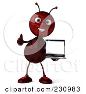 Royalty Free RF Clipart Illustration Of A 3d Worker Ant Standing And Holding A Laptop by Julos