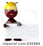 Royalty Free RF Clipart Illustration Of A 3d Worker Ant Holding A Blank Sign 2 by Julos