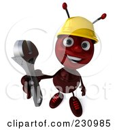 Royalty Free RF Clipart Illustration Of A 3d Worker Ant Holding A Wrench by Julos