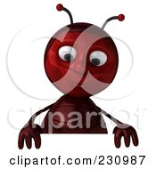 Royalty Free RF Clipart Illustration Of A 3d Worker Ant Holding A Blank Sign 1 by Julos